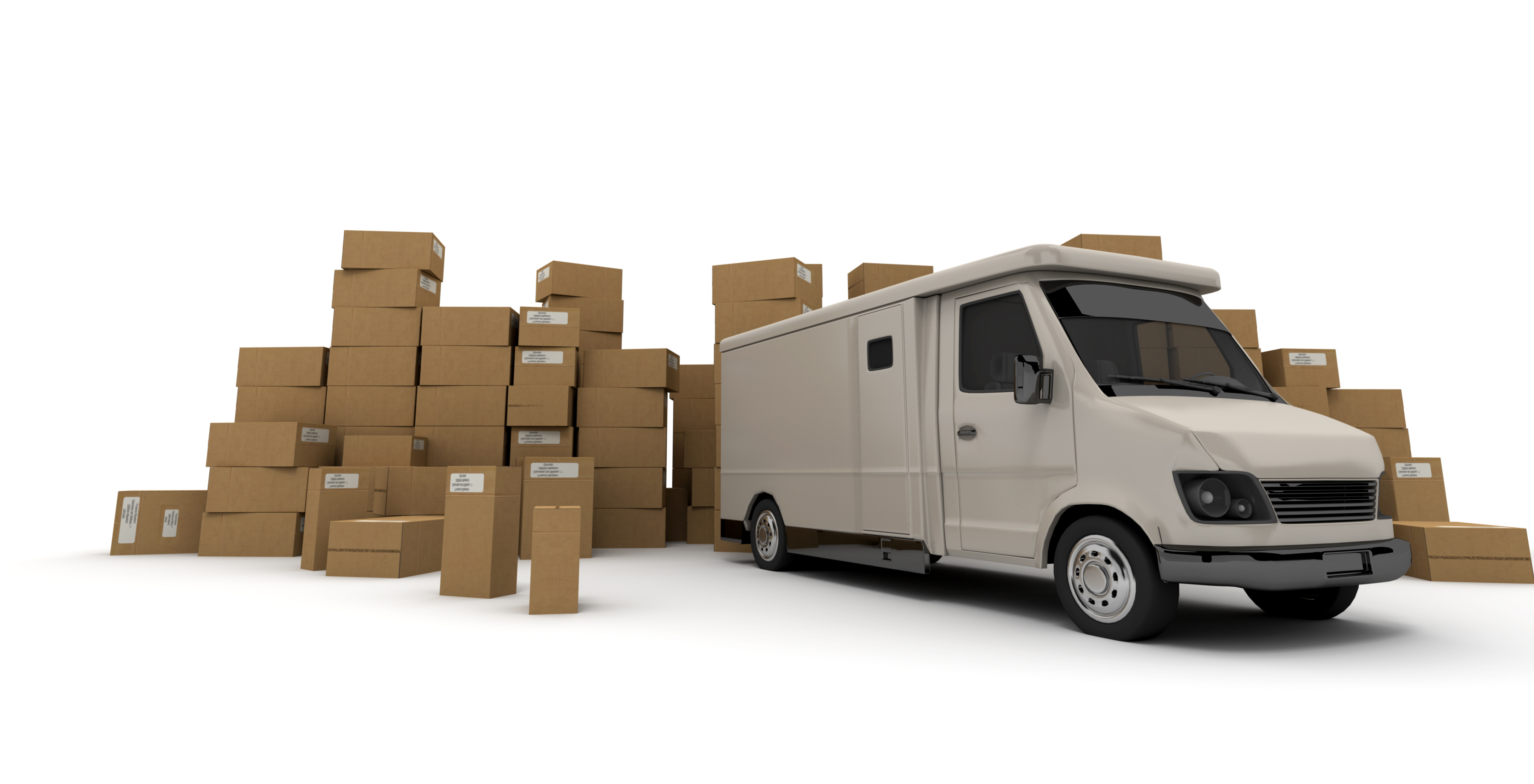 3D rendering of a white van and piles of cardboard boxes (I made up the information on the labels so no copyright issue)  3D rendering of a white van and piles of cardboard boxes (I made up the information on the labels so no copyright issue)
